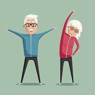 老年人,卡通,绘画插图,体操,矢量,人,老年男人,松弛练习,祖父,双亲家庭