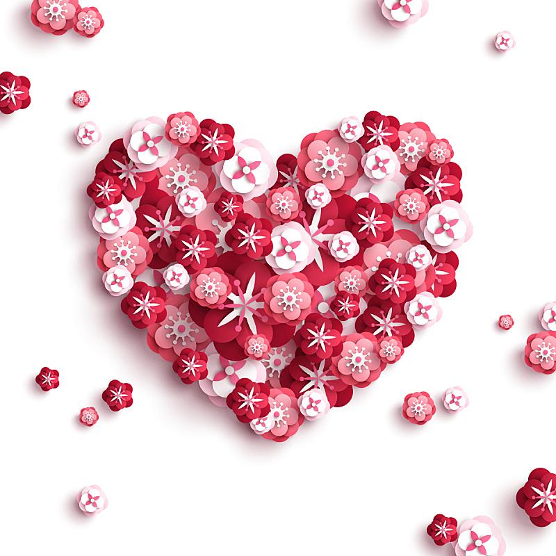 心型,花束,纸,美,形状,樱花,樱桃,情人节,绘画插图,符号