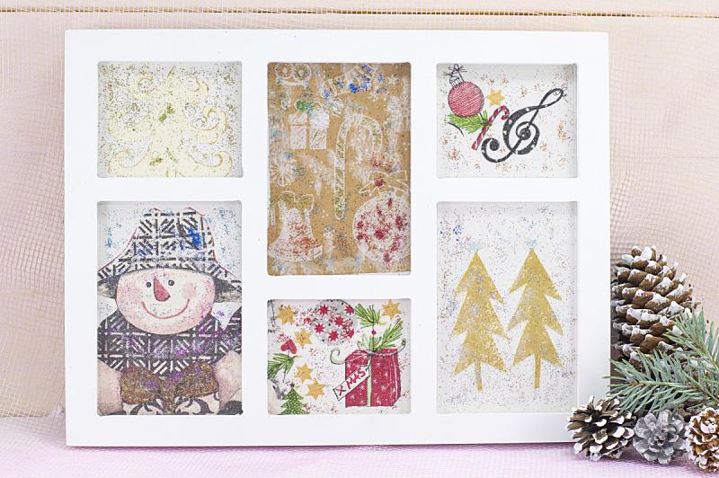 蝶古巴特艺术拼贴,边框,圣诞装饰,自制的,金属片,合成图像,圣诞卡,水平画幅,银色