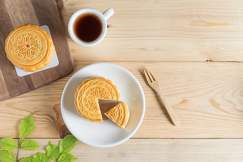 茶杯,顶部,月饼,褐色,水平画幅,月亮,传统,蛋糕,特写,泰国