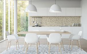 极简构图,白色,住宅房间,三维图形,图像,凸窗,备餐间,简单,干净,早晨