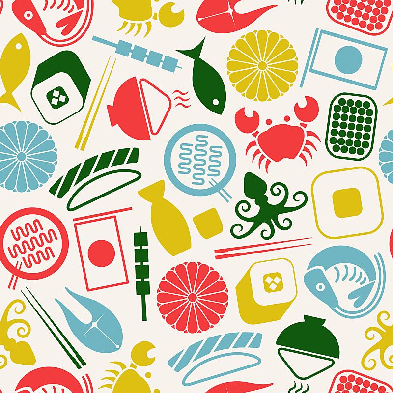 四方连续纹样,日本食品,饮料,传统,菜单,寿司,寿司卷,食品,米,绿芥末酱