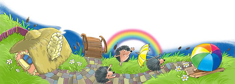 园林,房屋,刺猬,长椅,水平画幅,草,儿童房,知识,芦苇,彩虹