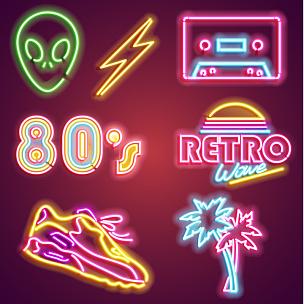 矢量,计算机图标,霓虹灯,明亮,照明设备,布告,夜晚,绘画插图