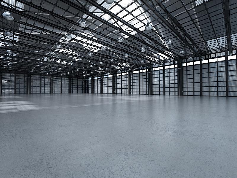 工厂,空的,室内,仓库,水平画幅,工作场所,无人,巨大的,天花板,走廊