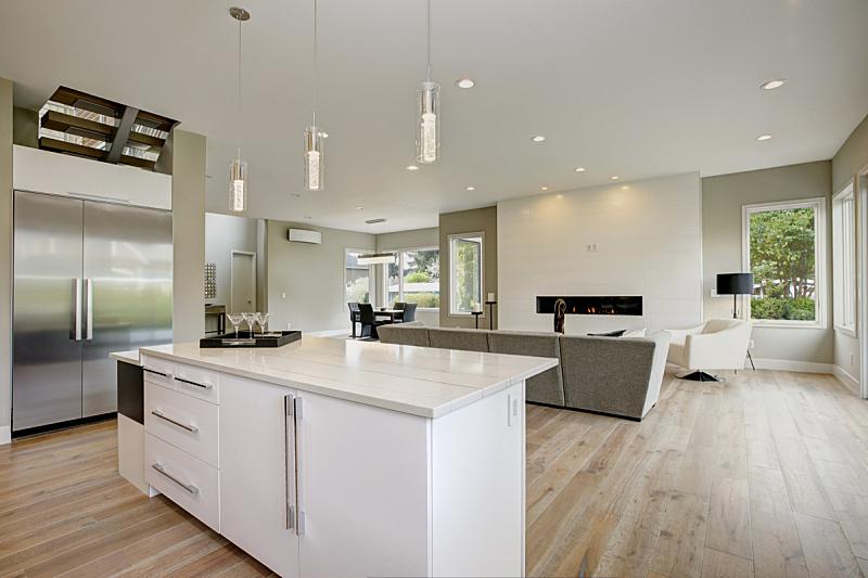 厨房,品牌名称,华贵,新的,水平画幅,无人,巨大的,天花板,家具,干净