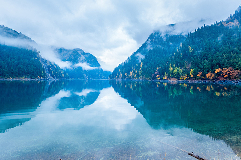 秋天,九寨沟 ,长湖,水,宁静,水平画幅,绿色,地形,无人,纯净