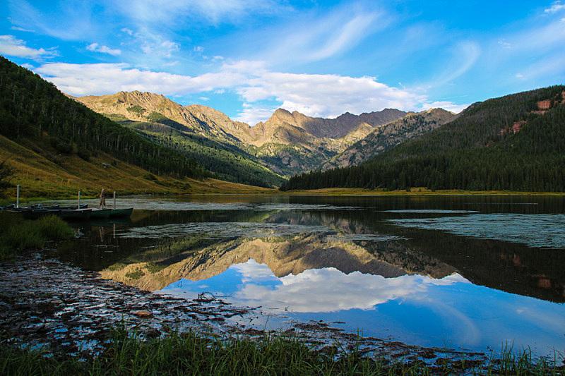 湖,水平画幅,山,无人,2015年,科罗拉多州,户外,派尼湖,阿尔卑斯湖荒野地,反射