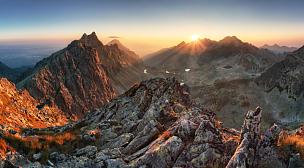 山,斯洛伐克,全景,日光,水平画幅,雪,无人,在边上,户外,山脊