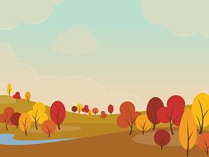 地形,秋天,天空,美,艺术,水平画幅,云,山,无人,绘画插图