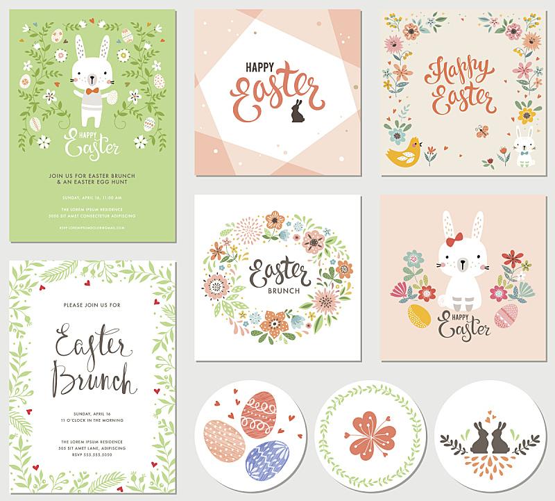 复活节,复活节兔子,复活节彩蛋,小兔子,兔子,贺卡,野花,春天,花卉花环,柔和色