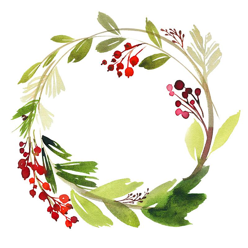 明信片,花环,浆果,水彩画,绘画插图,贺卡,新的,边框,艺术