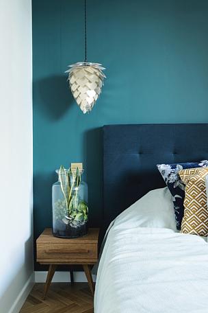 现代,木制,白色,高雅,围墙,桌子,卧室,颜色,床上用品,褐色