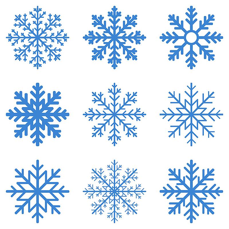 冬天,雪花,形状,雪,无人,绘画插图,符号,组物体,冰晶