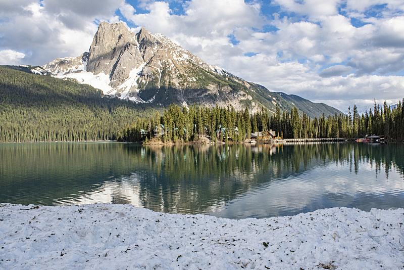 大不列颠哥伦比亚,加拿大,翡翠湖,自然,洛矶山脉,宁静,水平画幅,地形,小木屋,无人
