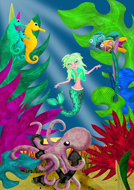 水下,三维图形,美人鱼,动画片,垂直画幅,美,人造的,公主,海马,绘画插图