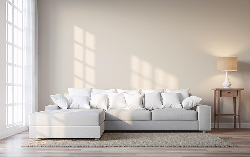米色,三维图形,时尚,起居室,墙,彩色图片,透过窗户往外看,灯,家具,明亮
