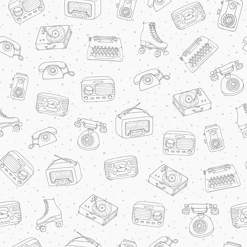 唱片,跳蚤市场,古董,四方连续纹样,背景,打字机,矢量,收音机,轮廓线画,举起手