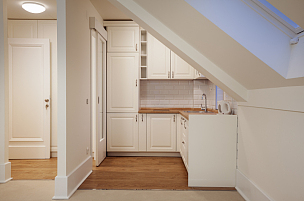 厨房,明亮,现代,白色,小的,空的桌子,复式楼,静物,公寓,自制的