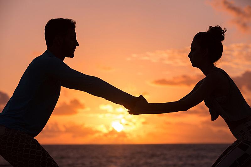 伴侣,瑜伽,水平画幅,人,户外,海滩,彩色图片,四分之三身长,巴西