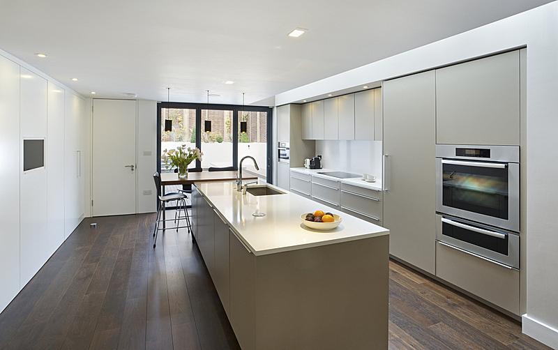 现代,厨房,明亮,早餐室,独立灶台,果盘,火炉,微波炉,新的,水平画幅