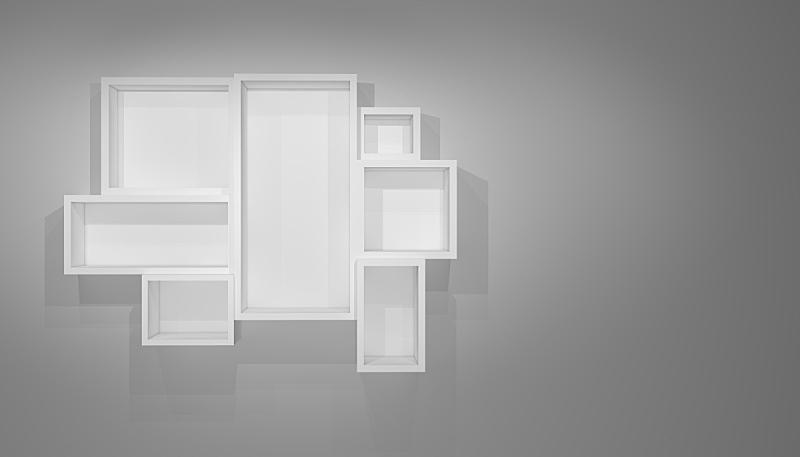 灰色,墙,架子,阴影,白色,空白的,留白,水平画幅,无人,柜子