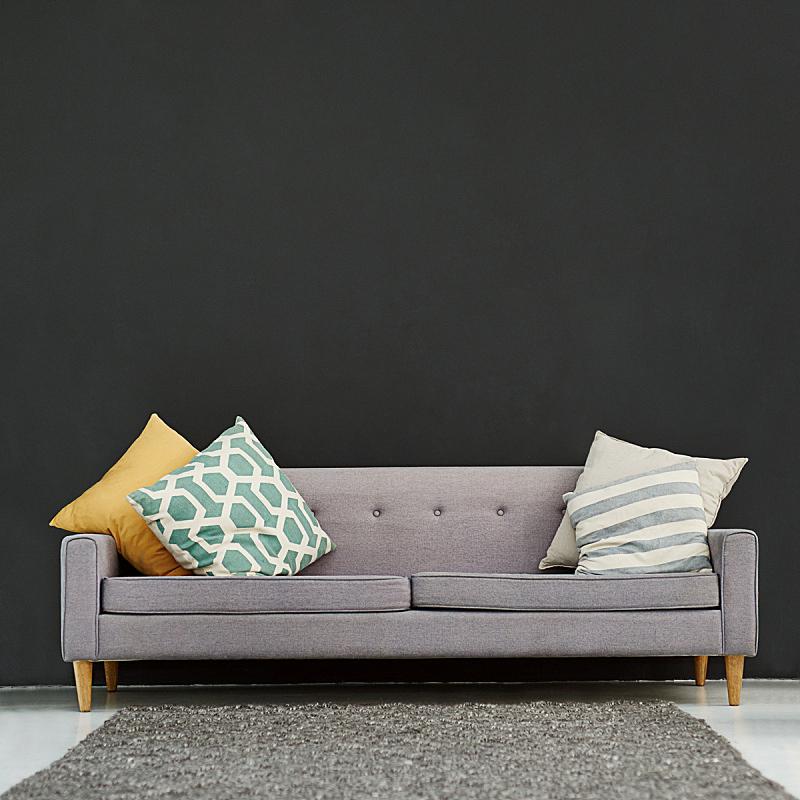 住宅内部,办公室,高雅,沙发,枕头,整洁的房间,软垫,小毯子,正面视角,整齐的