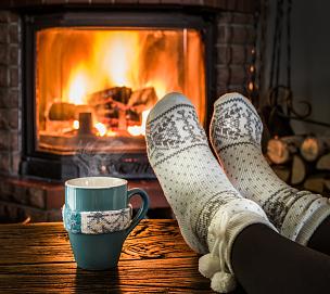 舒服,壁炉,美,边框,水平画幅,袜子,家庭生活,饮料,活力