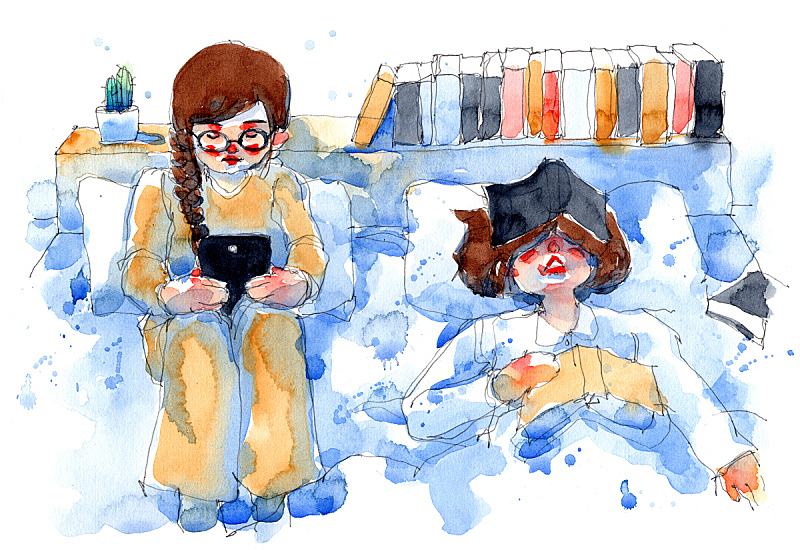 watercolor painting illustration set of girl with e-reader and her friend with books pile, traditional artwork scanned