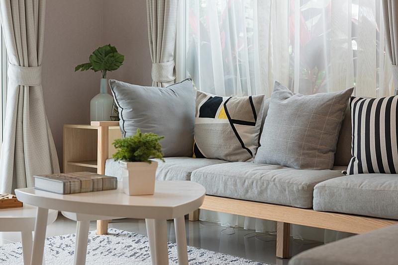 现代,起居室,窗帘,华贵,舒服,边框,泰国,椅子,沙发,装饰物