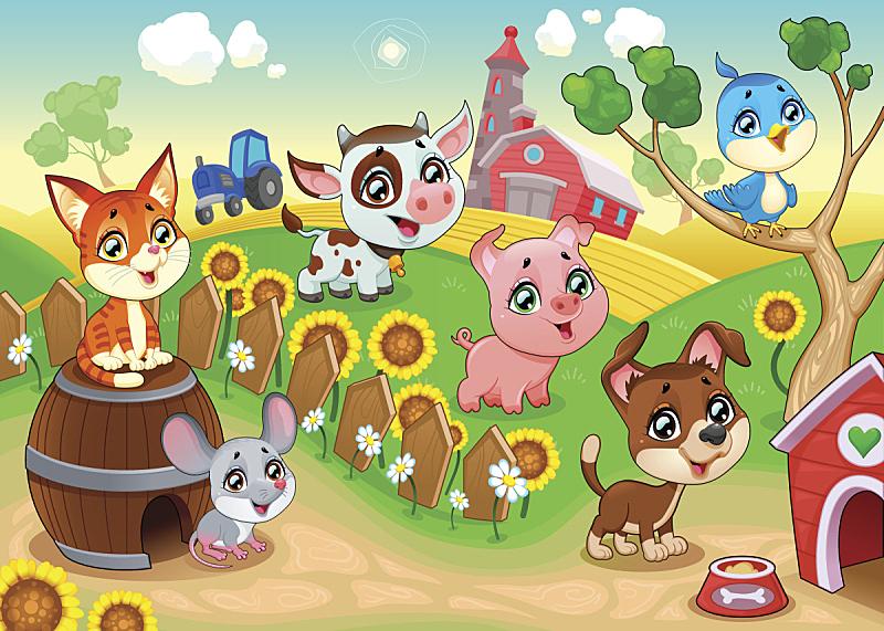 牲畜,家庭花园,可爱的,桶,景观设计,狗,猪,动物群,动物,鸟类