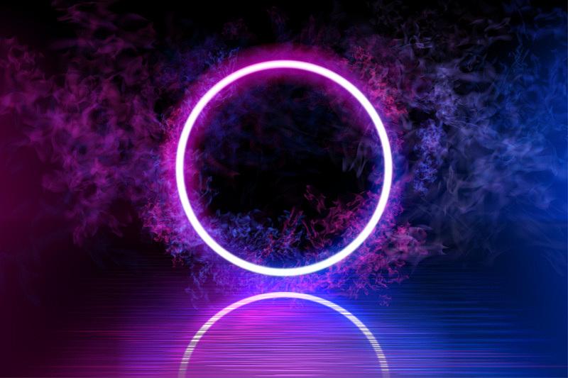 暗色,矢量,烟,背景,霓虹灯,阳光光束,蓝色,线条,圆形,反射