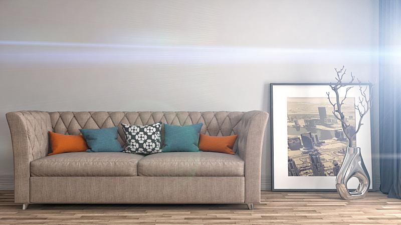沙发,室内,三维图形,褐色,座位,水平画幅,无人,装饰物,家具,普罗旺斯
