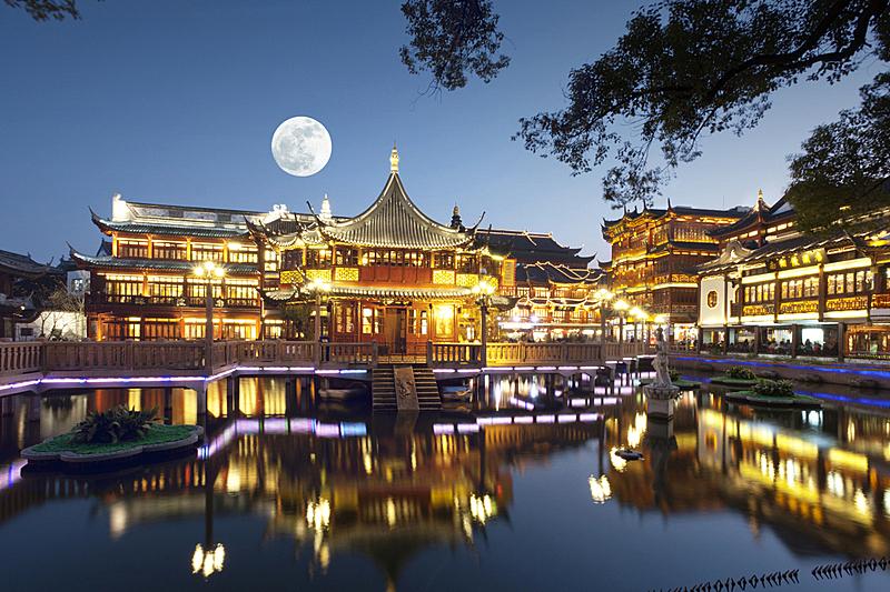 豫园,夜晚,上海,中秋节,天空,度假胜地,水平画幅,无人,喷泉,月亮