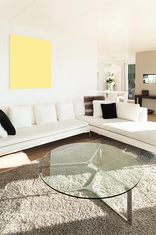 现代,沙发,白色,起居室,垂直画幅,新的,墙,别墅,无人,天花板
