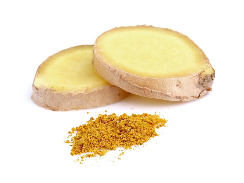 生姜,切片食物,水平画幅,根部,无人,生食,香料,背景分离,特写,白色