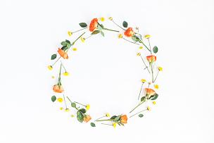 花环,黄色,橙色,白色背景,乡村风格,花纹,爱沙尼亚,贺卡,留白,边框