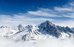 勃朗丛山,霞慕尼峰,勃朗峰,雪山,山脉,天空,留白,水平画幅,山,雪