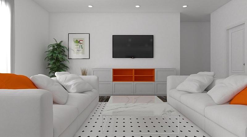 现代,起居室,窗帘,扶手椅,华贵,舒服,边框,橙色,椅子,沙发