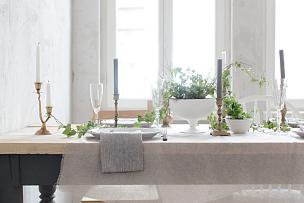 常春藤,桌子,木制,上菜,餐具,美,留白,休闲活动,水平画幅,布置