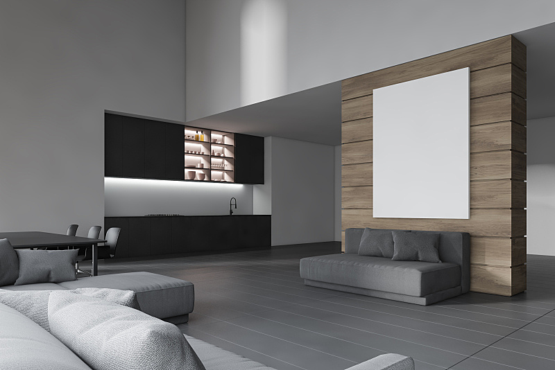 厨房,白色,起居室,舒服,瓷砖,沙发,水槽,现代,烤炉