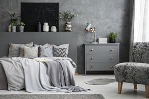 卧室,扶手椅,床,灰色,柜子,黑色,床单,室内,摄影