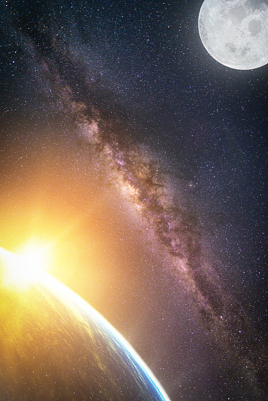 星系,地形,银河系,天气,图像,风景,太空视角,美国宇航局,地球,满月