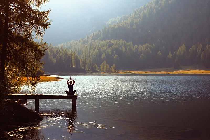 湖,瑜伽,水,天空,灵性,早晨,完美,仅成年人,活动,放松
