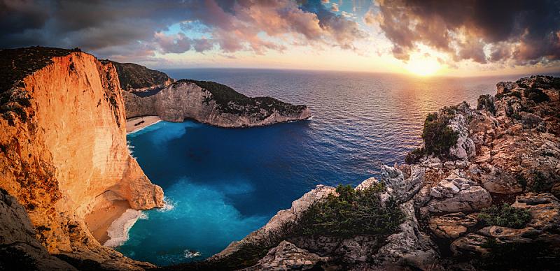 希腊,全景,扎金索斯,海湾,创造力,水,天空,美,水平画幅,夏天