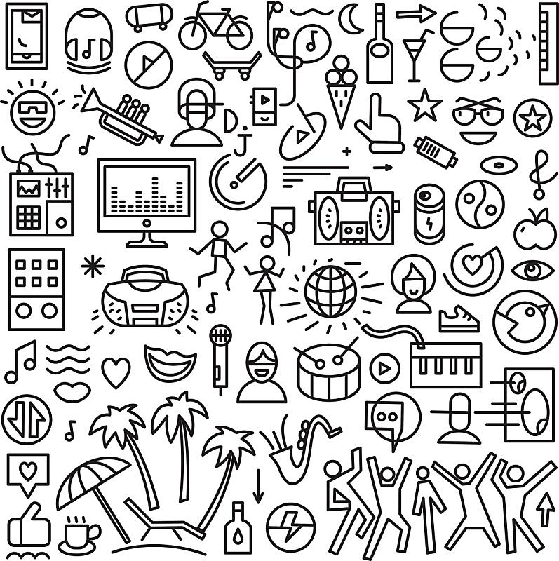 符号,音乐,线条,瘦弱,舞台,青少年,噪声,绘画插图,聚会的音乐主持人,含酒精饮料