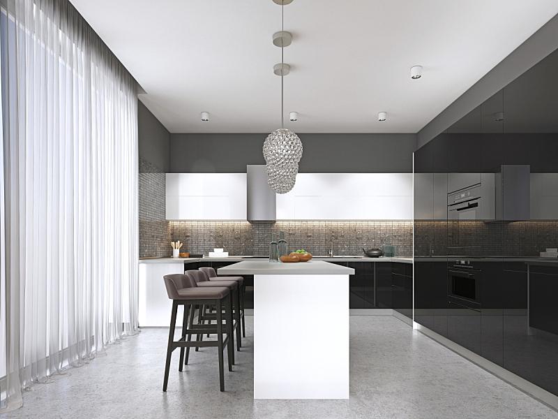 现代,厨房,外立面,岛,吧椅,闪亮的,黑色,平衡折角灯,华贵,舒服