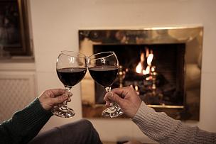 周年纪念,浪漫,葡萄酒杯,住宅内部,壁炉,伴侣,幸福,红色,火