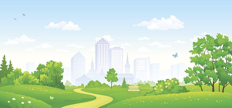 公园,全景,城市,公园长椅,草地,剪贴画,都市风景,小路,宽的,绘画插图