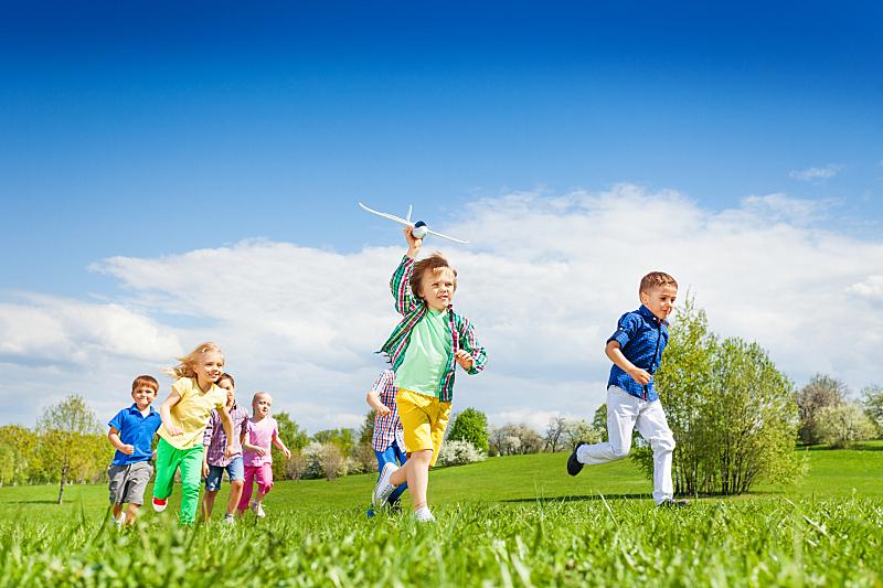 儿童,飞机,玩具,男孩,慢跑,天空,在之后,夏天,草